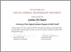 Gamma Chi New Chapter Award Certificate MPH