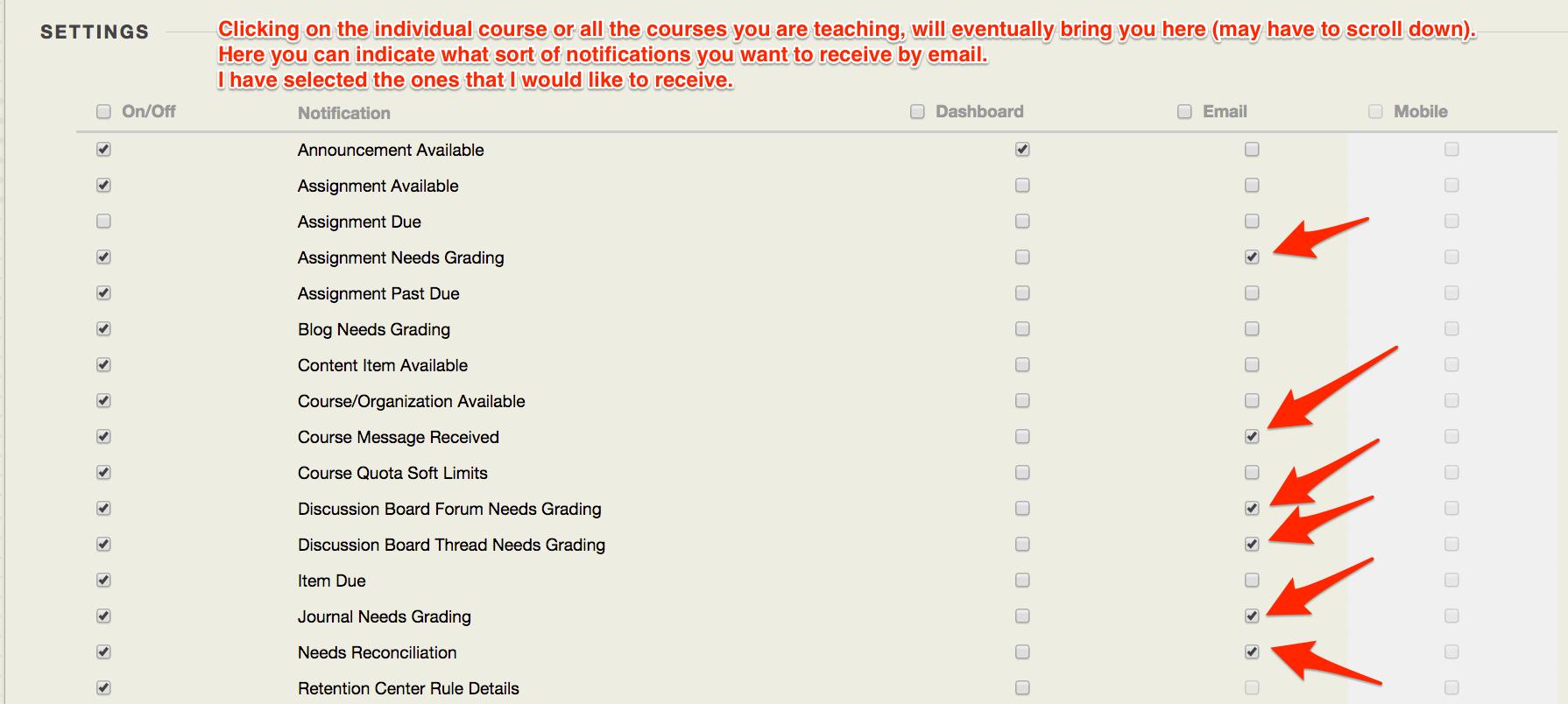 change settings - blackboard learn