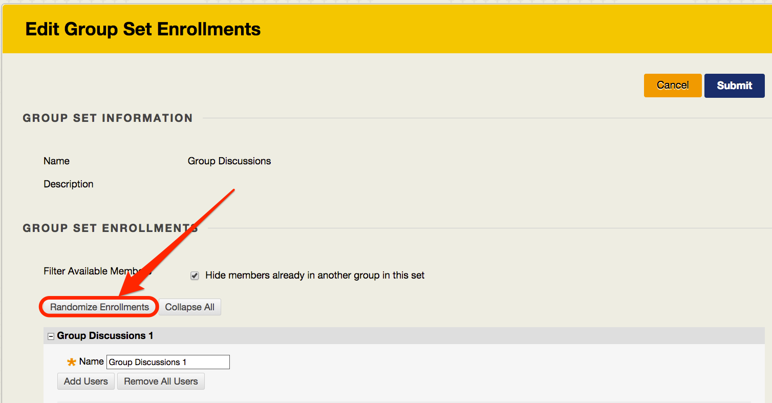 Edit Group Set Enrollments