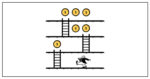 Illustration of a man collecting coins as he goes up ladders to signify gamification