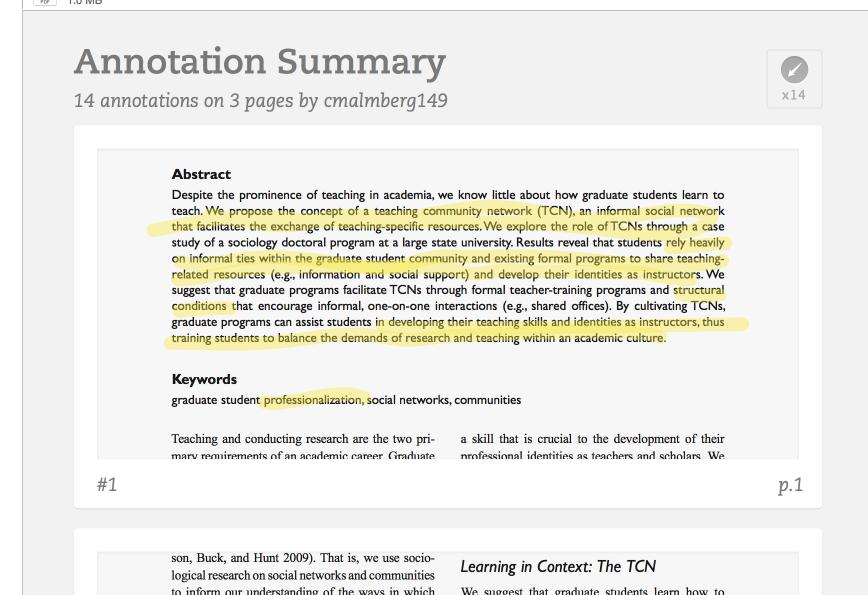 annotation summary
