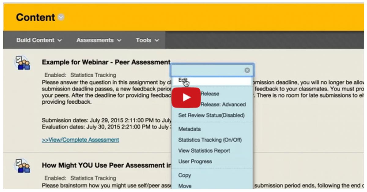 Webinar: Peer and Self Assessment in Blackboard