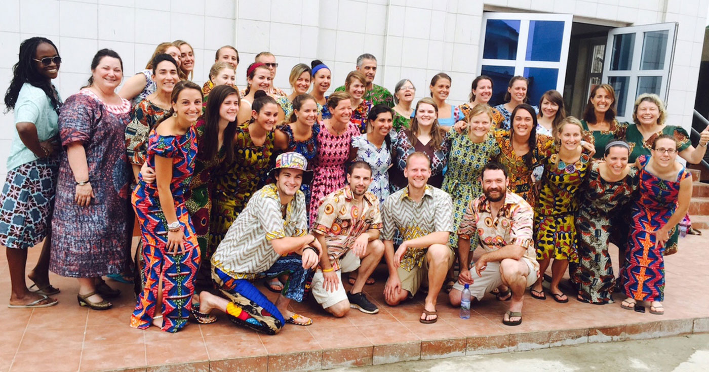 August 2015: 40 students and faculty from UNE's Westbrook College of Health Professions flew to Ghana to embark on a two-week Cross Cultural Health Immersion initiative.