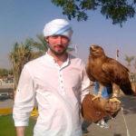 Paul Grimaud with a falcon