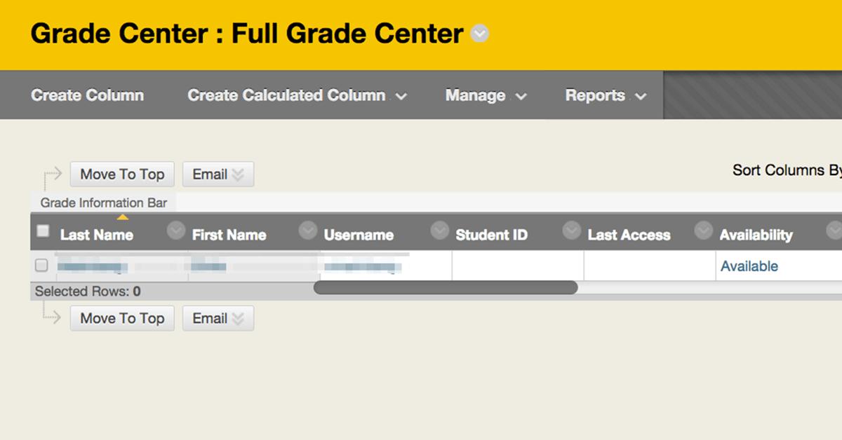 Blackboard grade center view