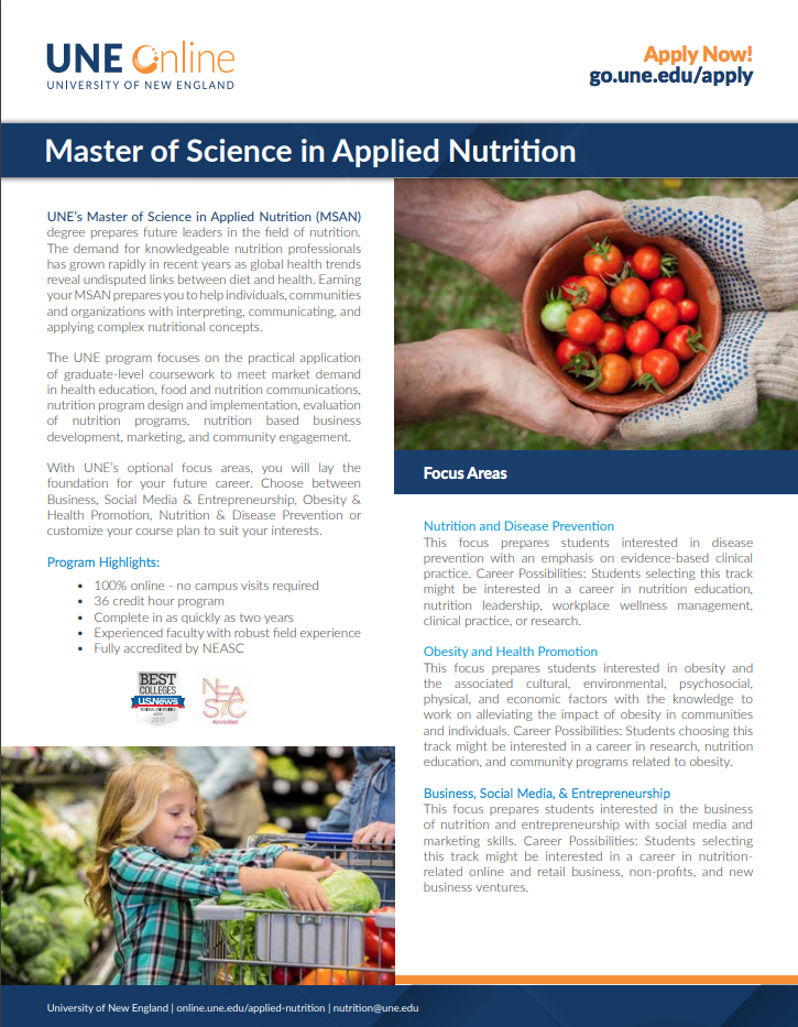 Applied Nutrition Masters Degree 100 Online Une Online College