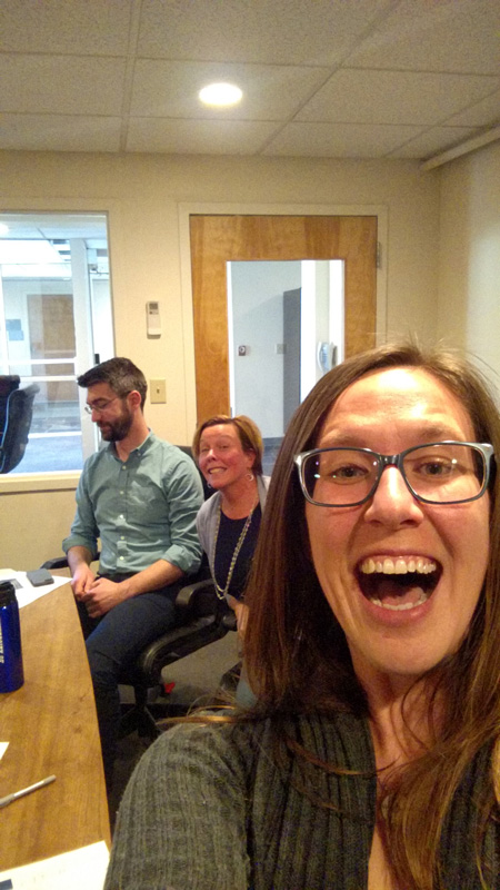 Sarah Cochran taking a selfie with Mike Trombley and Susan Rent of the ID team.