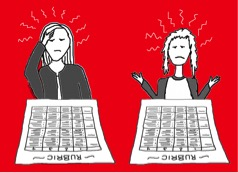 Picture of people frustrated and confused with rubrics