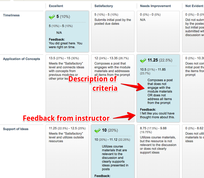 graded rubric with feedback view
