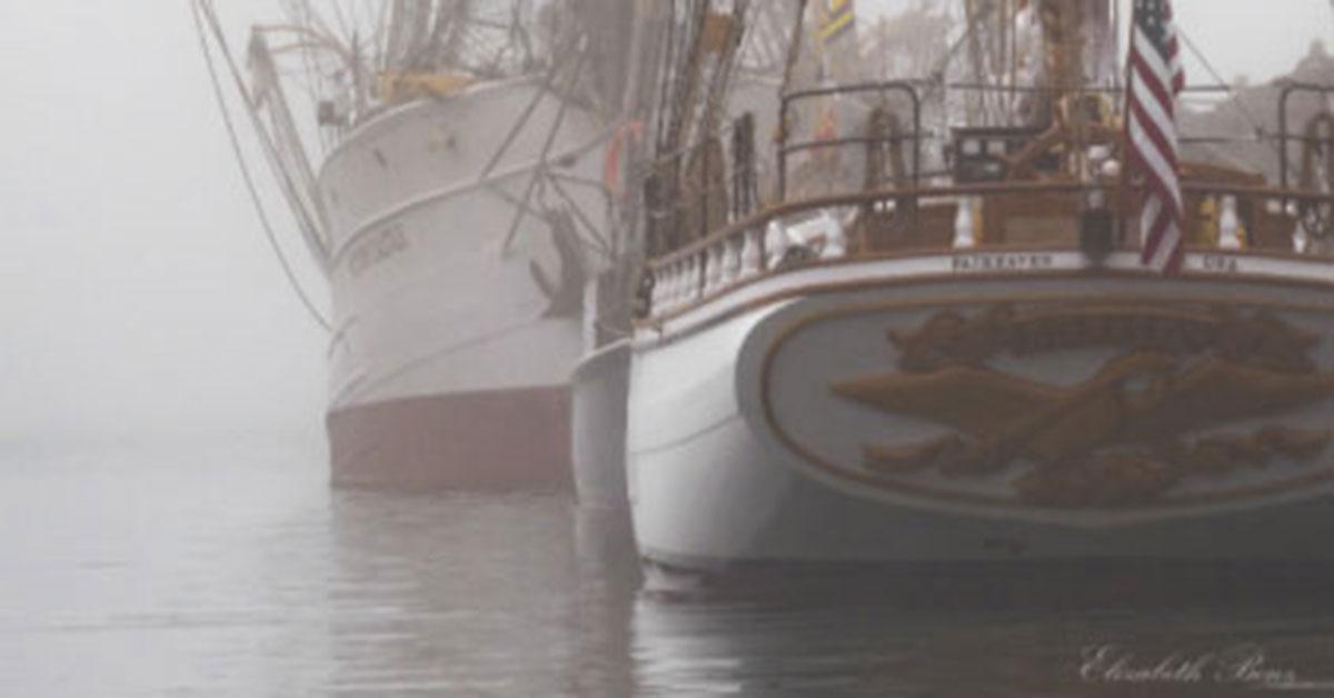Sailboat in fog, photo by Elizabeth Benz