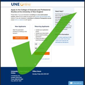 Application for UNE Online Graduate School