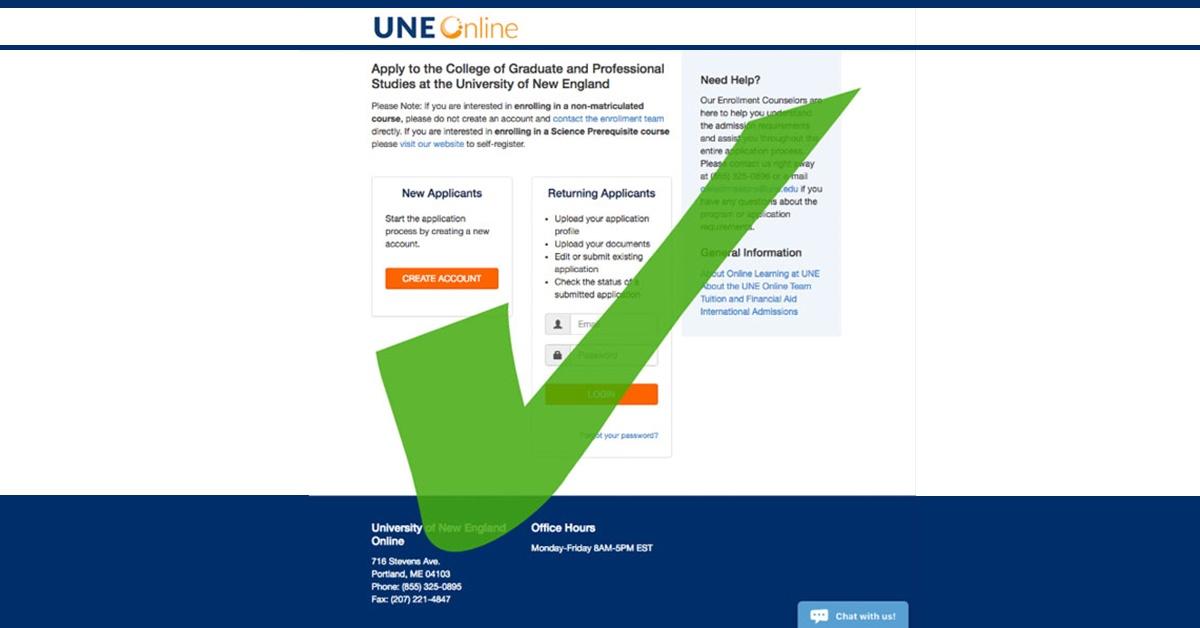 Application for UNE Online Graduate School