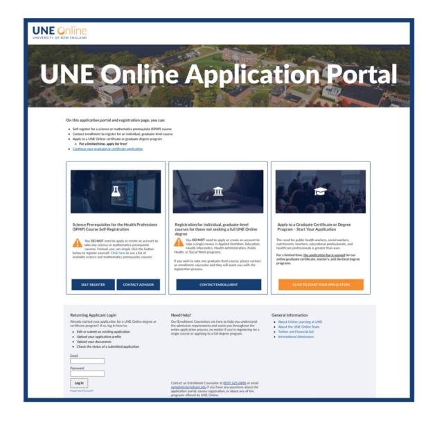 Application page for UNE Online graduate programs