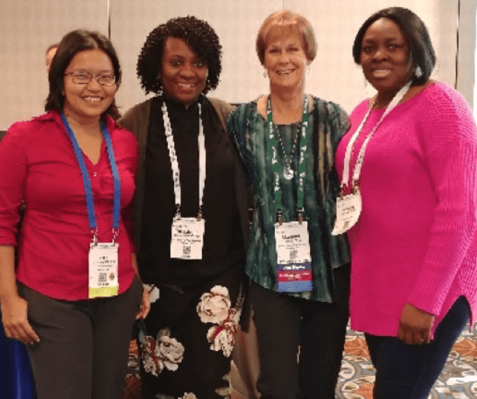 From left to right: Dr. Nang Tin Maung (Program Manager), Dr. Titi Balogun (Practicum Coordinator), Dr. Margaret Linnell (alumna), Mosope Kotoye (MPH student)