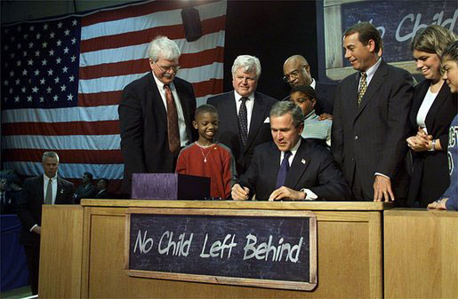 2001: President George W. Bush signs a major reform known as No Child Left Behind