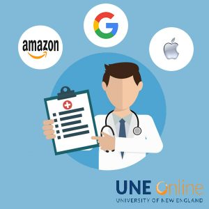 Illustration of a doctor pointing to a clipboard with several logos around his head such as Amazon, Google, and Apple to depict healthcare tech