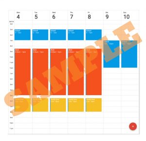 Sample early bird study schedule in Google Calendar (click to enlarge)