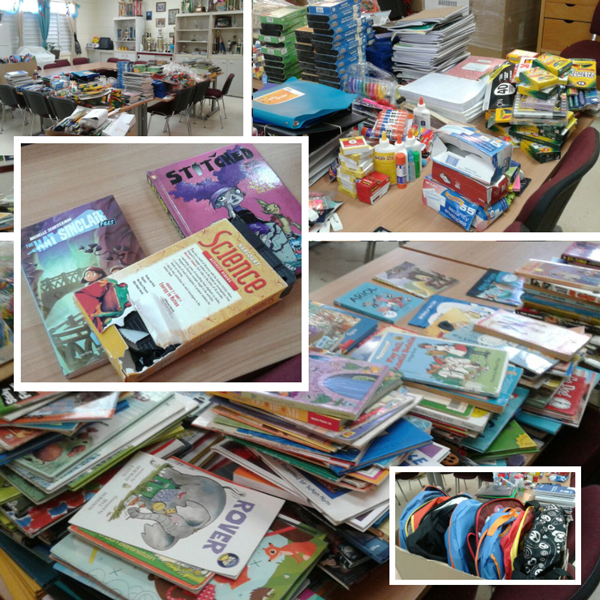 school supplies donated by Dr. Carol Marcotte