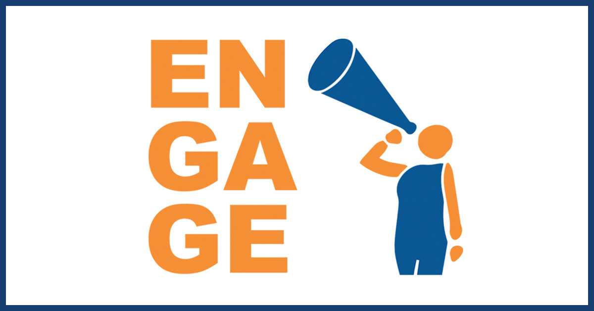 "Figure with bullhorn next to bold text: ""Engage"" to signify that instructors should incorporate currents events in their lessons"
