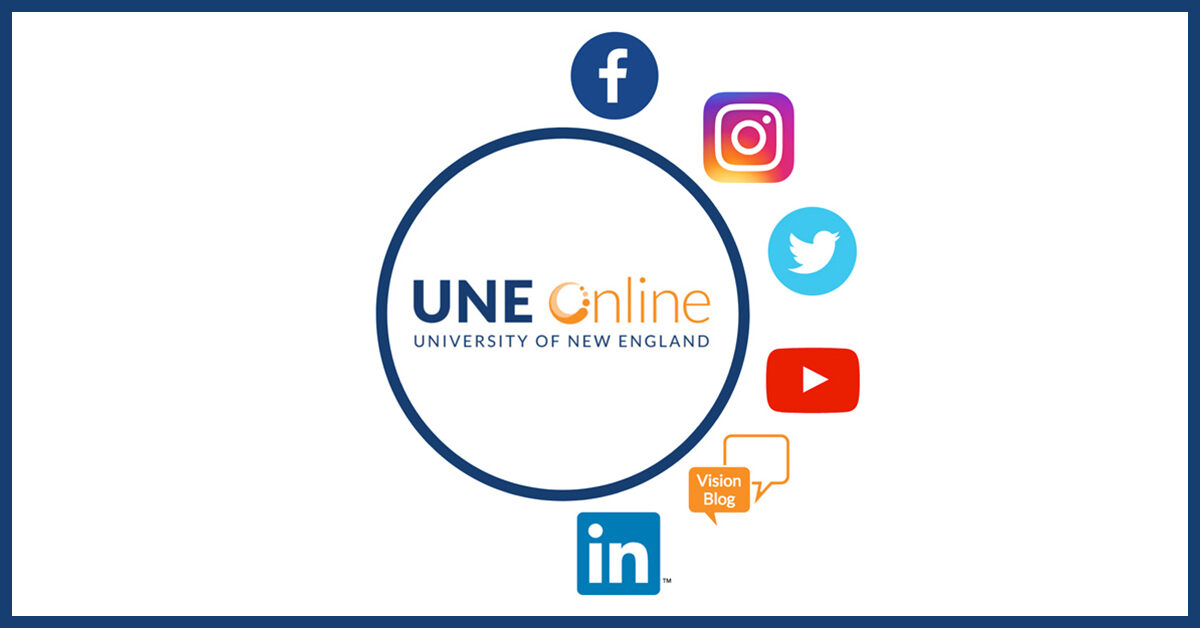 Socially connect with UNE Online