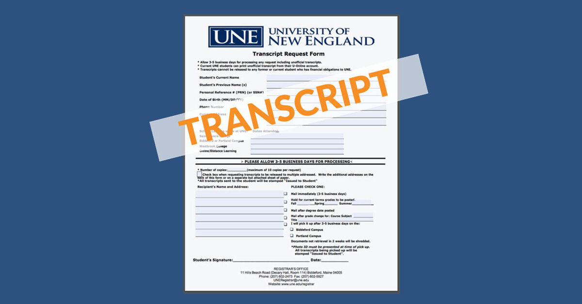 How to request your UNE Online transcript