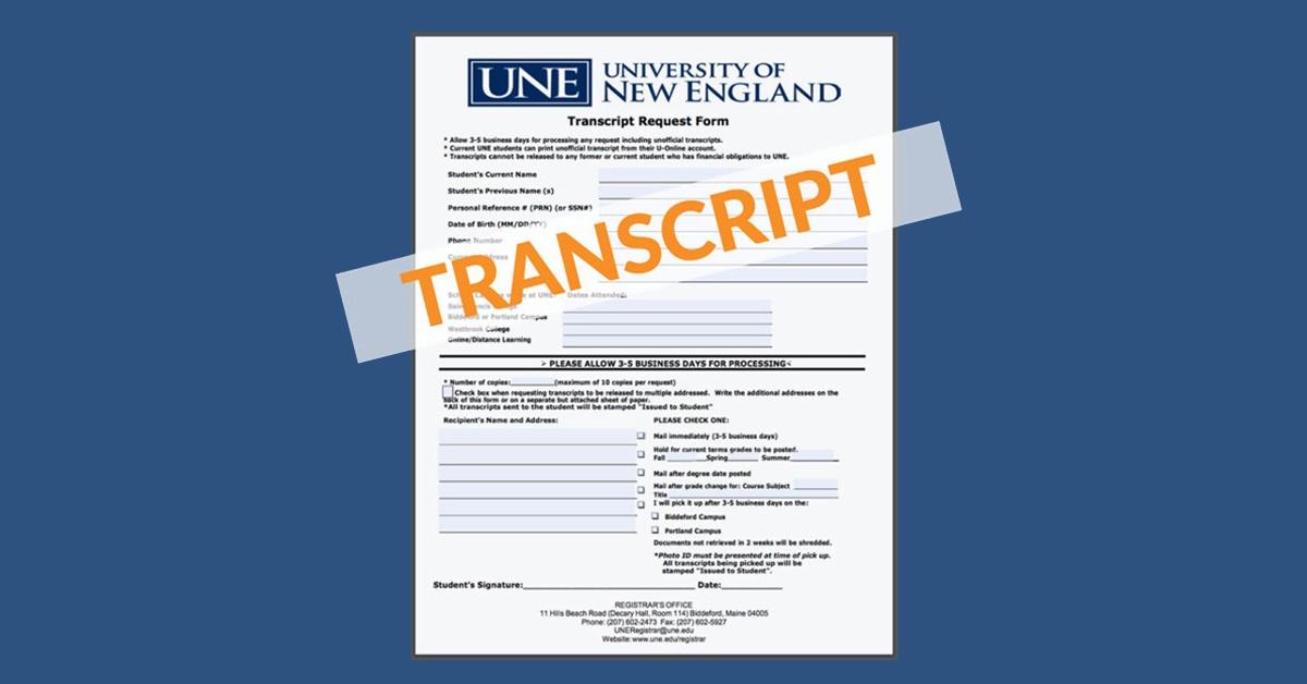 How to request your UNE Online transcript