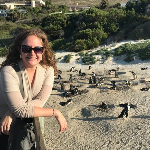 Nicole Petrin, social work mentor, with penguins