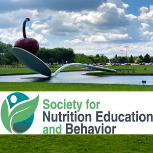 society for nutrition education and behavior logo against a nature background