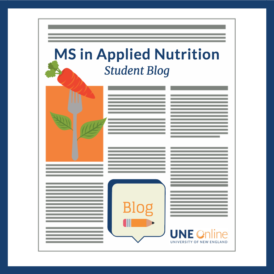 An illustration of an Applied Nutrition Blog like those created in our online nutrition masters degree program