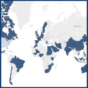 A portion of a map that highlight countries in which students are taking online courses at UNE Online