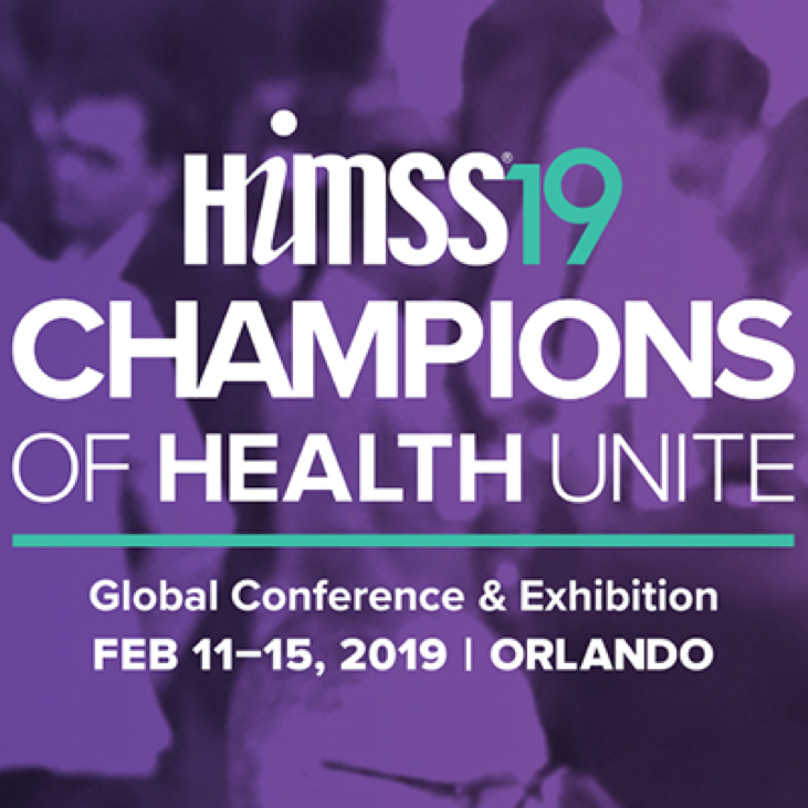 Title card for HIMSS 2019 Conference with purple, blue, and white text