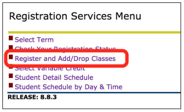 Register and Add/Drop Classes