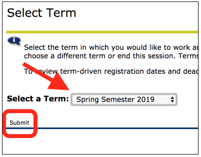 Select your term and click submit