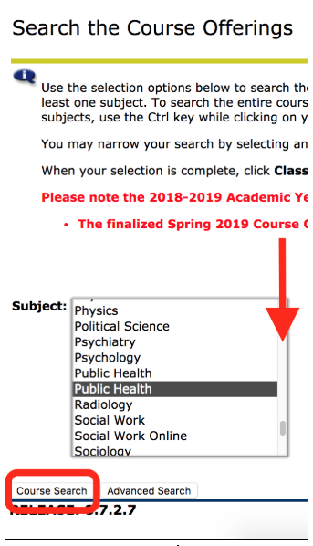 Scroll down to your program. (Public Health, choose the second option.)