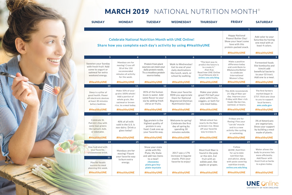 National Nutrition Month Calendar 2019