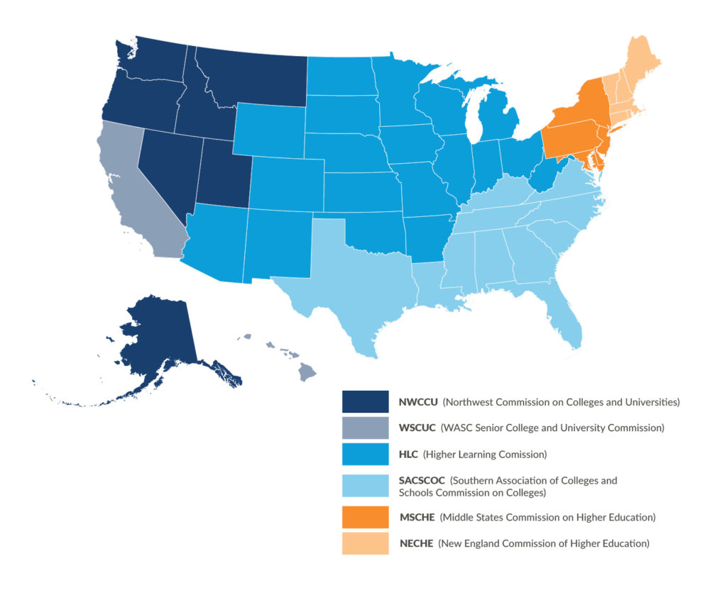 Color-coded map showing regional accreditation in the United States