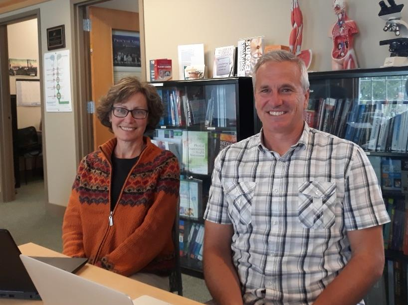 Lori Rand, Online Writing Specialist (left) and Henri Moser Online Learning Specialist (right) offers graduate students tutoring and other academic services