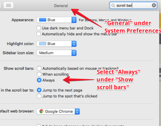 General dialogue window in Mac System Preferences