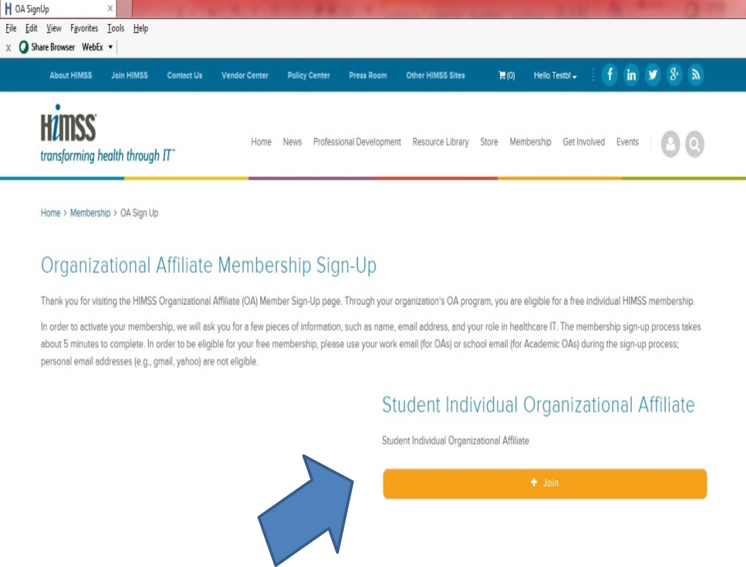 On the Organizational Affiliate Membership Sign-Up page, click Join