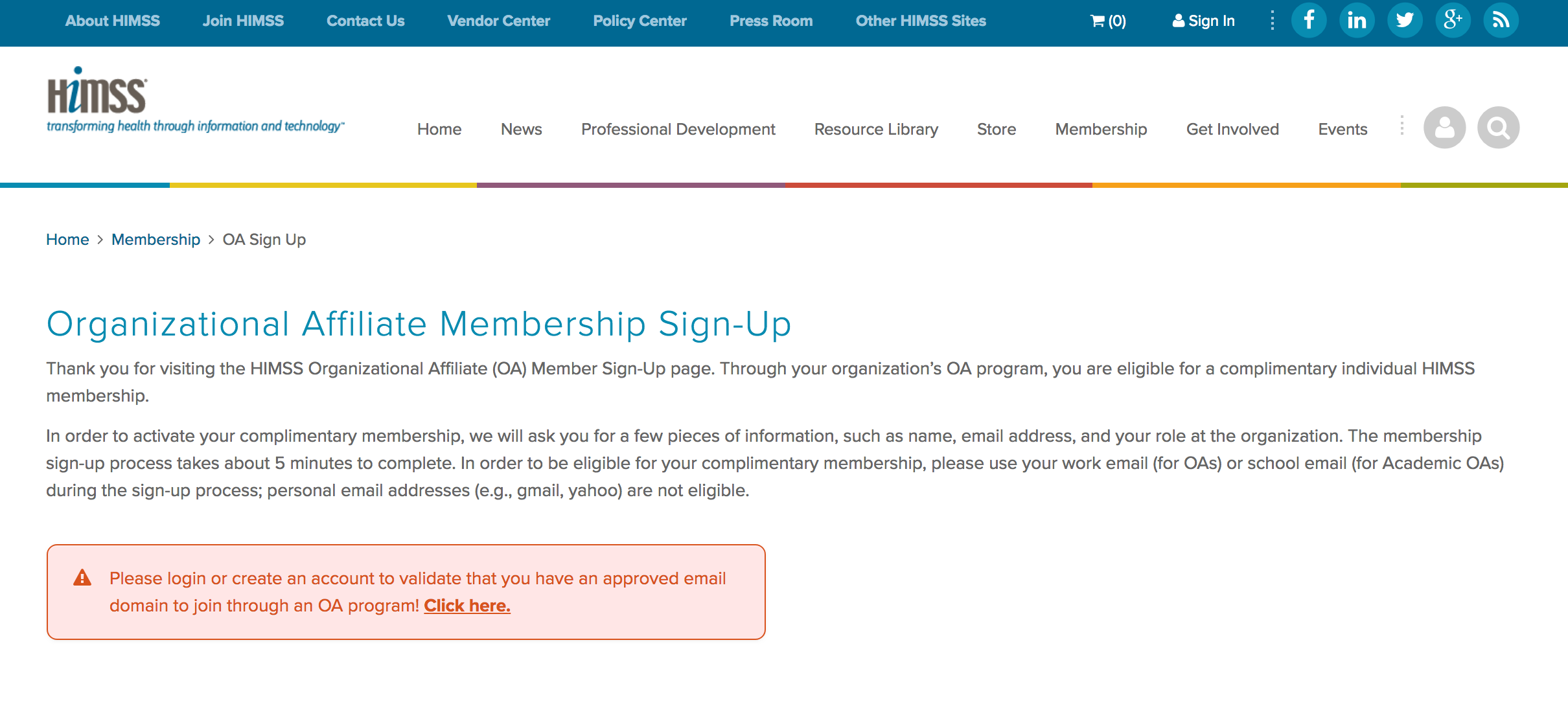 "Click ""Click Here"" under Student Individual Organizational Affiliate to create your membership."