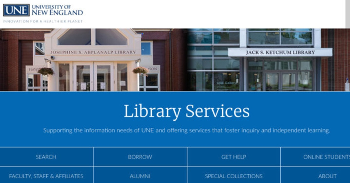 UNE Library Home Page