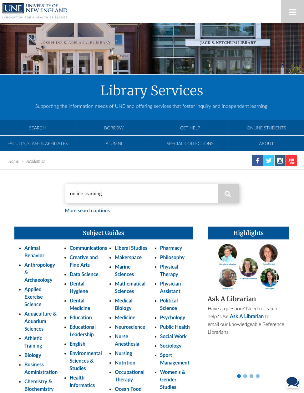 Library Home page