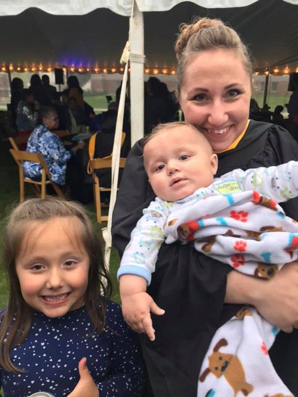 Courtney Mejia and her children