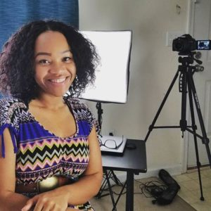 Adanna Hackett with video equipment