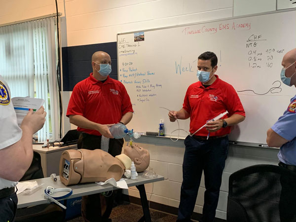 Pinellas County EMS class with COVID-19 face masks