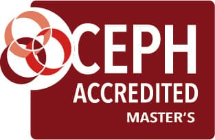 CEPH accredited logo for master's program in red and white