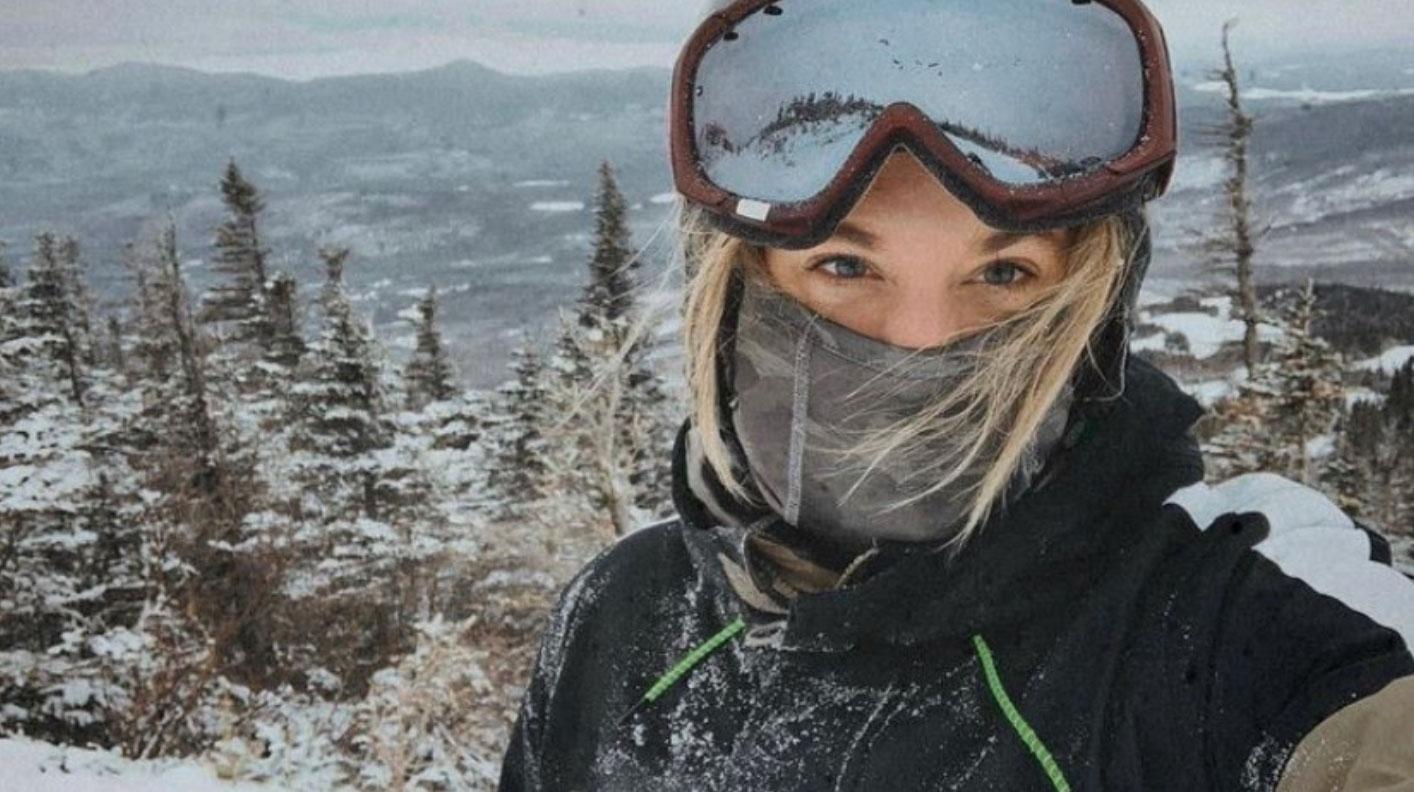 Rachel Kosnow, Enrollment Counselor, skiing