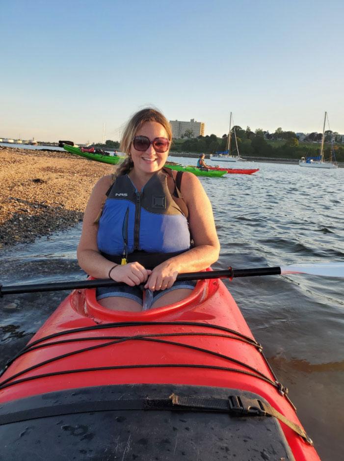 Jessica Swindlehurst in a kayak