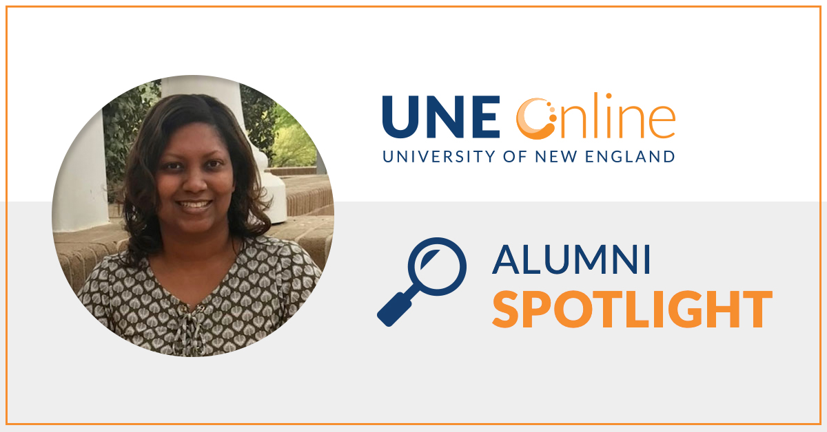 Picture of LaToya Bryant, MSW and UNE Online alumna, within the Alumni Spotlight format